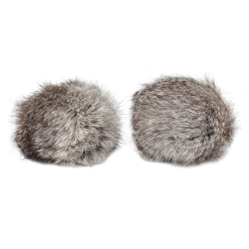 Pompon Made Of Natural Fur (rabbit), D-10cm, 2 Pcs/pack (a White-gray)