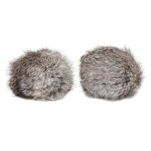 Pompon Made Of Natural Fur (rabbit), D-10cm, 2 Pcs/pack (a White-gray)