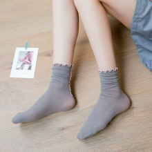 iComfortable Women Socks No Show Velvet Lace Mid Tube Summer Crimping Ultra-Thin Student Lady Socks Solid Color