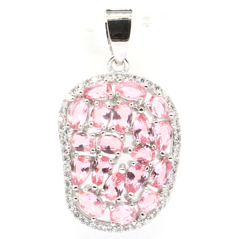34x24mm Luxury Created Pink Morganite White CZ Gift For Woman's Jewelry Making Silver Pendant