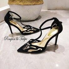 цены MNK 930040 Kid Suede Rhinestone Mesh Howllow Out Elegant Sheepskin Pumps 8/10CM Chic Stilettos Fancy Party Wedding Women Shoes