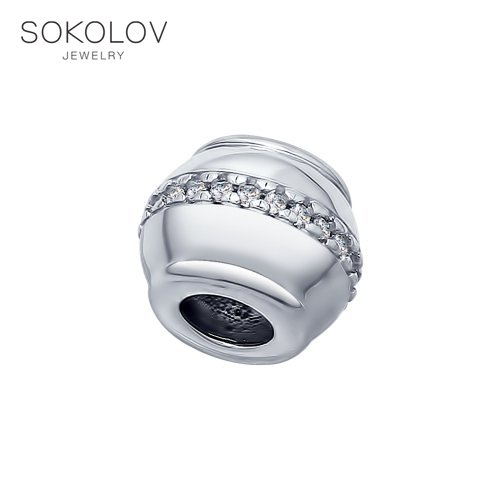 Charm Pendant SOKOLOV From Silver With Cubic Zirkonia Fashion Jewelry 925 Women's Male