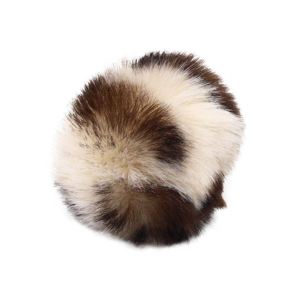 Ar528 Pompon Artificial Fur, Leopard, 5 Cm 2 Pcs/pack (white-brown)