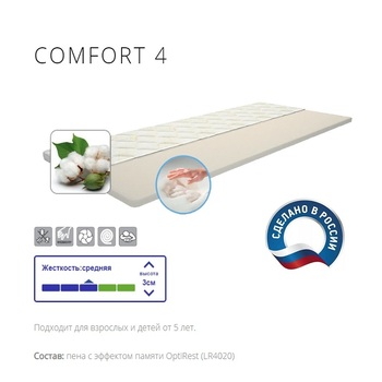 Mattress диванный Topper IQ Sleep COMFORT4, height = 3 cm... for the bedroom for living room, on the bed sofa