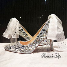 MNK 930033 Stylish Crystal Sliver Gem Rhinestone Ribbon Pointed Toe Pumps 8/10CM Heels Stilettos Fancy Party Wedding Women Shoes