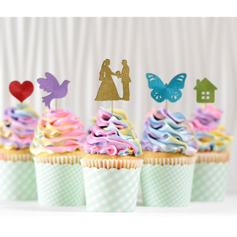 Outstanding 12Ct Custom Shiny Wedding Cupcake Topper Glitter Personalised Funny Birthday Cards Online Bapapcheapnameinfo