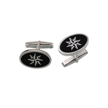 Silver 925 Sterling Compass Oval Cufflinks