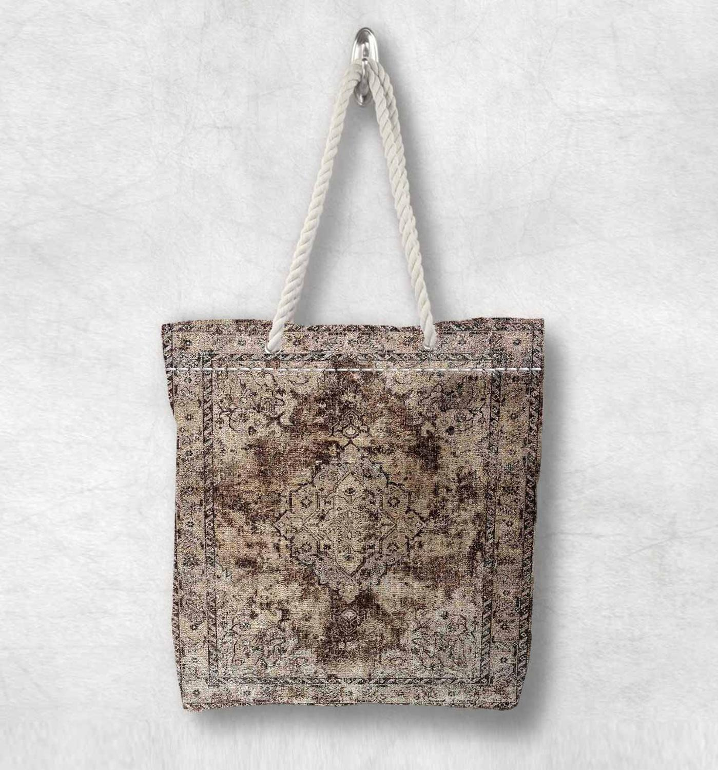 Else Brown Anatolia Antique Vintage Kilim Design White Rope Handle Canvas Bag Cotton Canvas Zippered Tote Bag Shoulder Bag