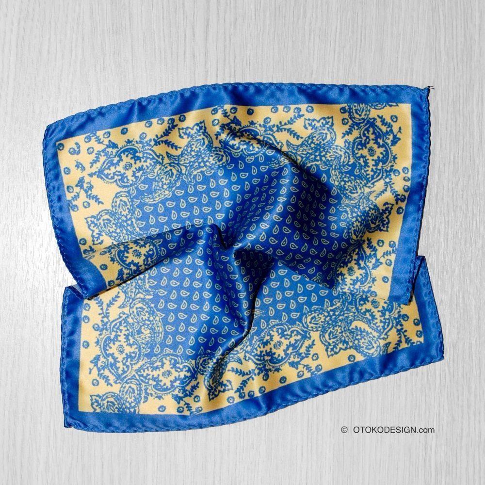 Blue Paisley Pocket Square (52664)