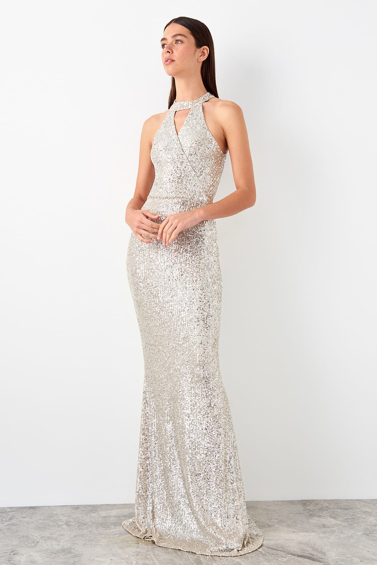 Trendyol Sequined Evening Dress TPRSS19AE0147