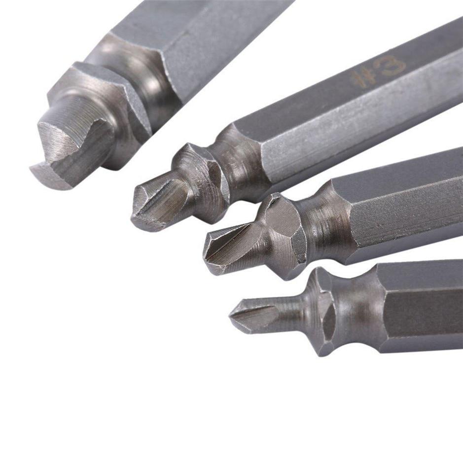 4 Stks/set Beschadigd Schroevendraaier Extractor Set Double Side Gebroken Schroef Bolt Stud Remover Puller Center Boor Removal Tools 6