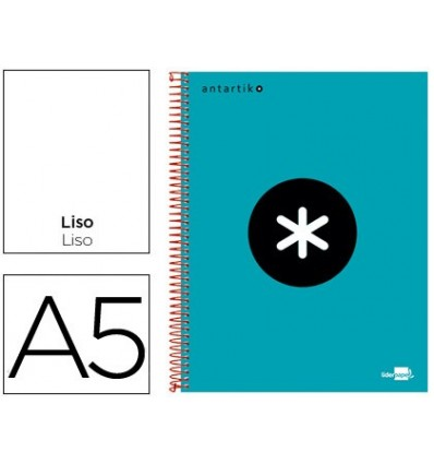 SPIRAL NOTEBOOK LEADERPAPER A5 MICRO ANTARTIK LINED TOP 120H 100G SMOOTH BANDED 6 DRILLS TURQUOISE