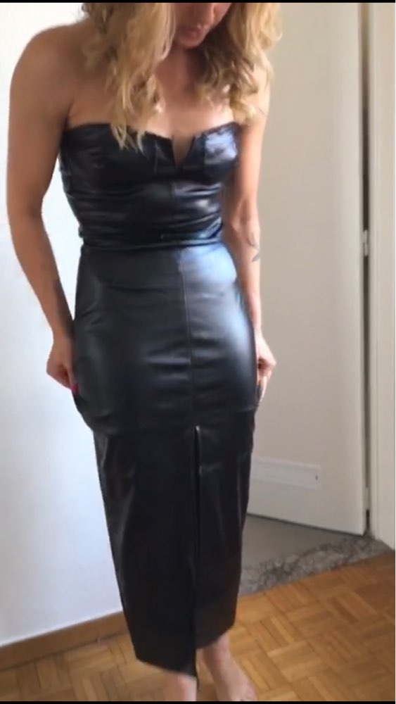 Backless Pu Leather Dress Women High Split Black Tight Party Dress Sexy Night Club Wear Low Cut Bodycon Dresses Belted Vestidos photo review