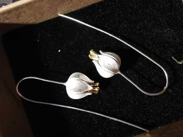 Женские серьги-подвески в виде цветка тюльпана Lotus Fun, Настоящее серебро 925 пробы, ювелирные украшения ручной работы