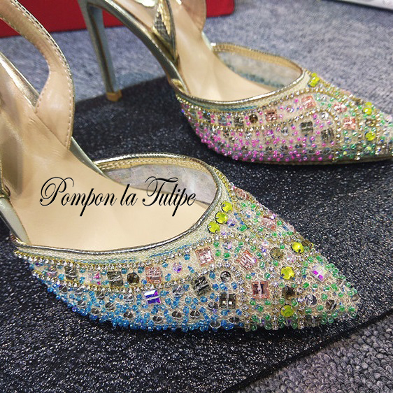MNK 930031 Colorful Crystal Slingback Pointed Toe Elegant Sheepskin Pumps 8 10CM Chic Stilettos Fancy Party Wedding Women Shoes in Women 39 s Pumps from Shoes