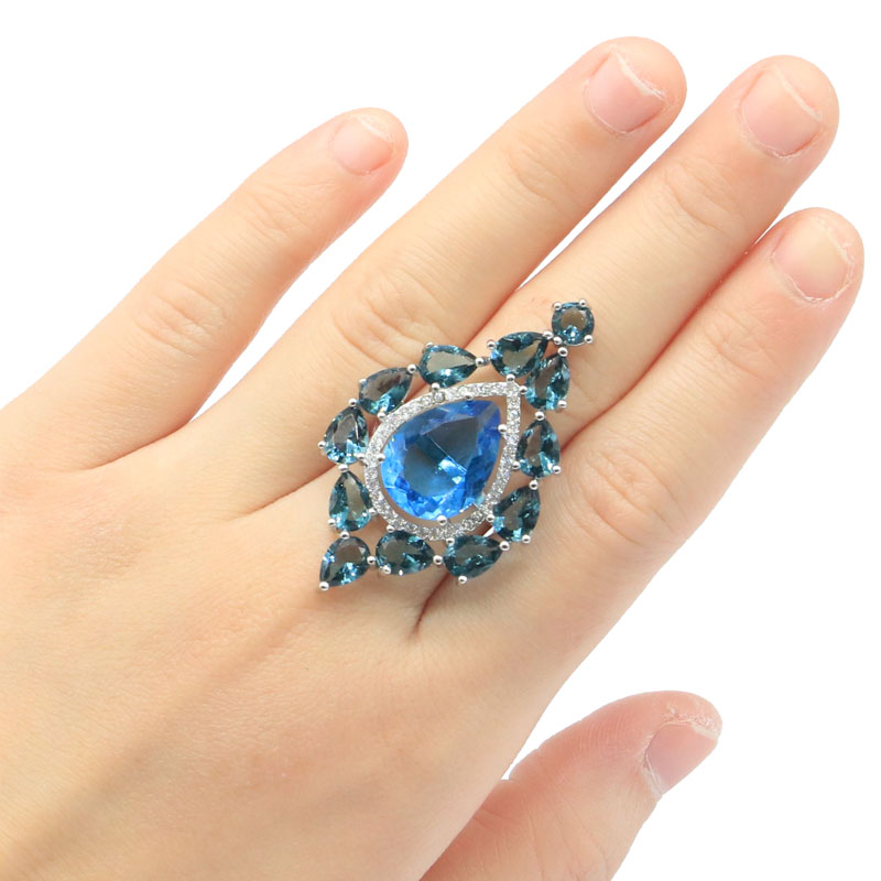 44x27mm Beautiful Big Size London Blue Topaz White CZ Gift For Woman's Engagement Silver Rings