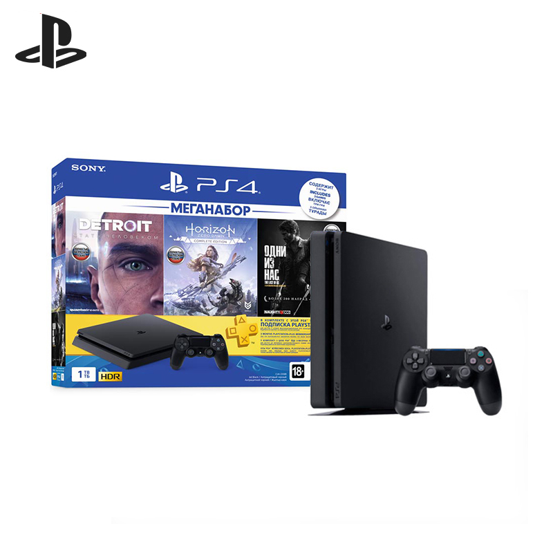 For Sony PlayStation 4 Slim (1 TB) Black (CUH-2208B) + game HZD + game Detroit + game TLOU + PS Plus 3- mo. игровая консоль sony playstation 4 slim 1tb black cuh 2208b gran turismo sport god of war horizon zero dawn ce psn 3 месяца