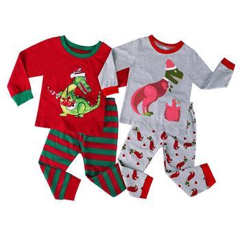 Christmas Pajamas for Kids Boy Xmas Dinosaur Sleepwear Set Children New Year Nightwear Toddler Festival Pjs