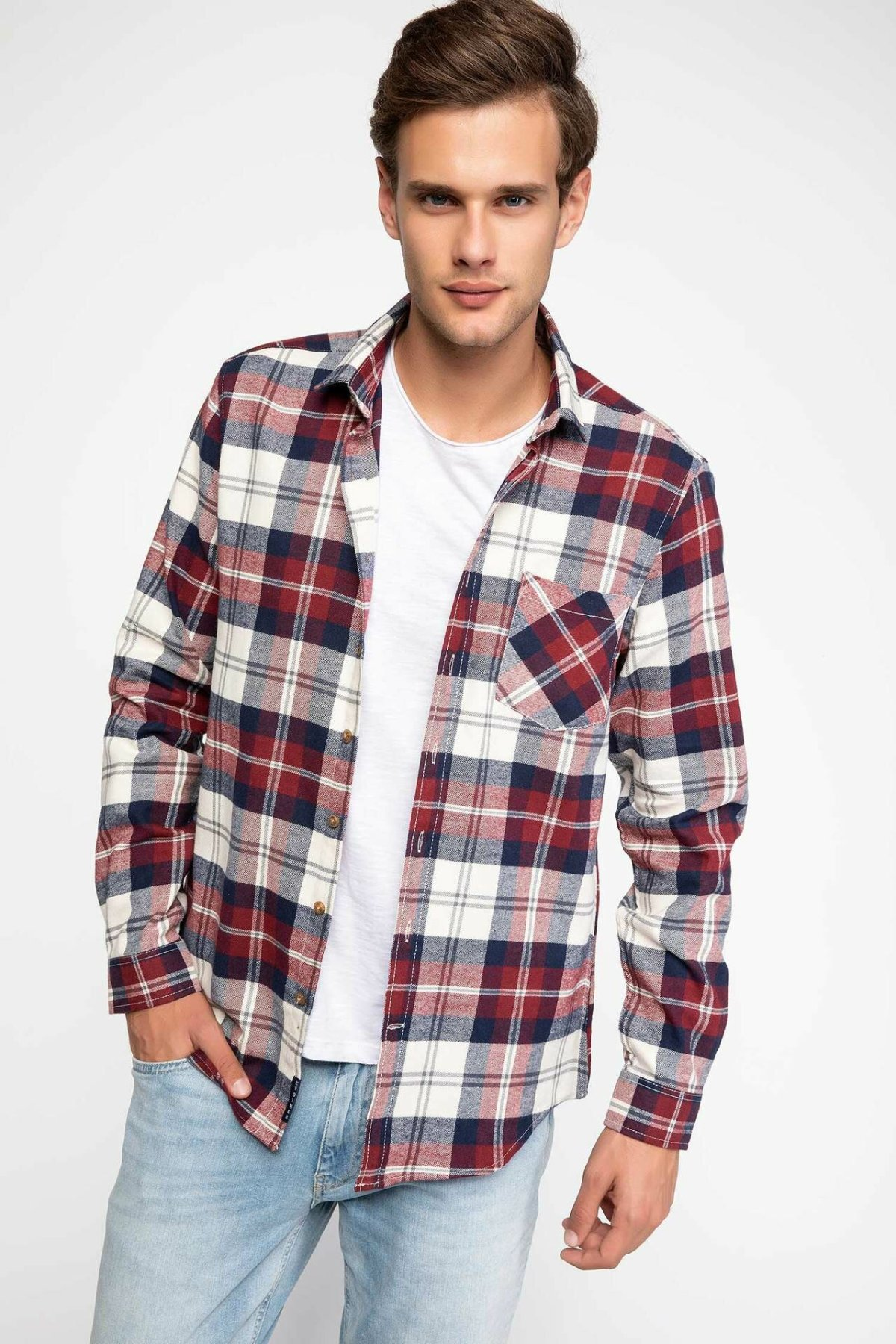 DeFacto Man Long Sleeve Shirt Classic Red Plaid Shirts Turn-down Collar Pockets Male Casual Shirts-J0601AZ18WN