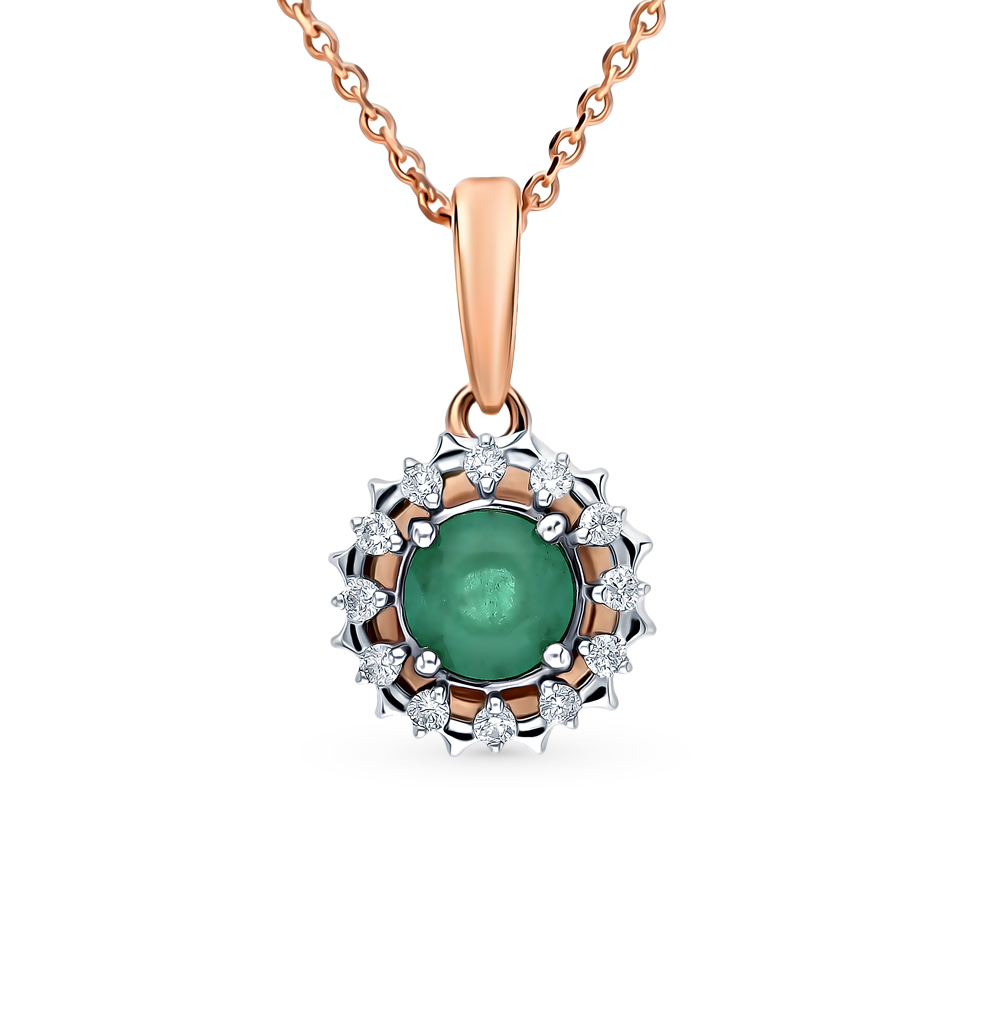 Gold Pendant With Emeralds And Diamonds Sunlight Sample 585