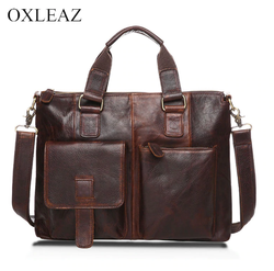 Men's briefcase genuine leather oxleaz 14 inch ox260-1