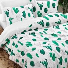 SET copripiumino doppio CACTUS TREND uomo donna bianco verde pianta natura cotone 2 federe, lenzuolo e biancheria da letto
