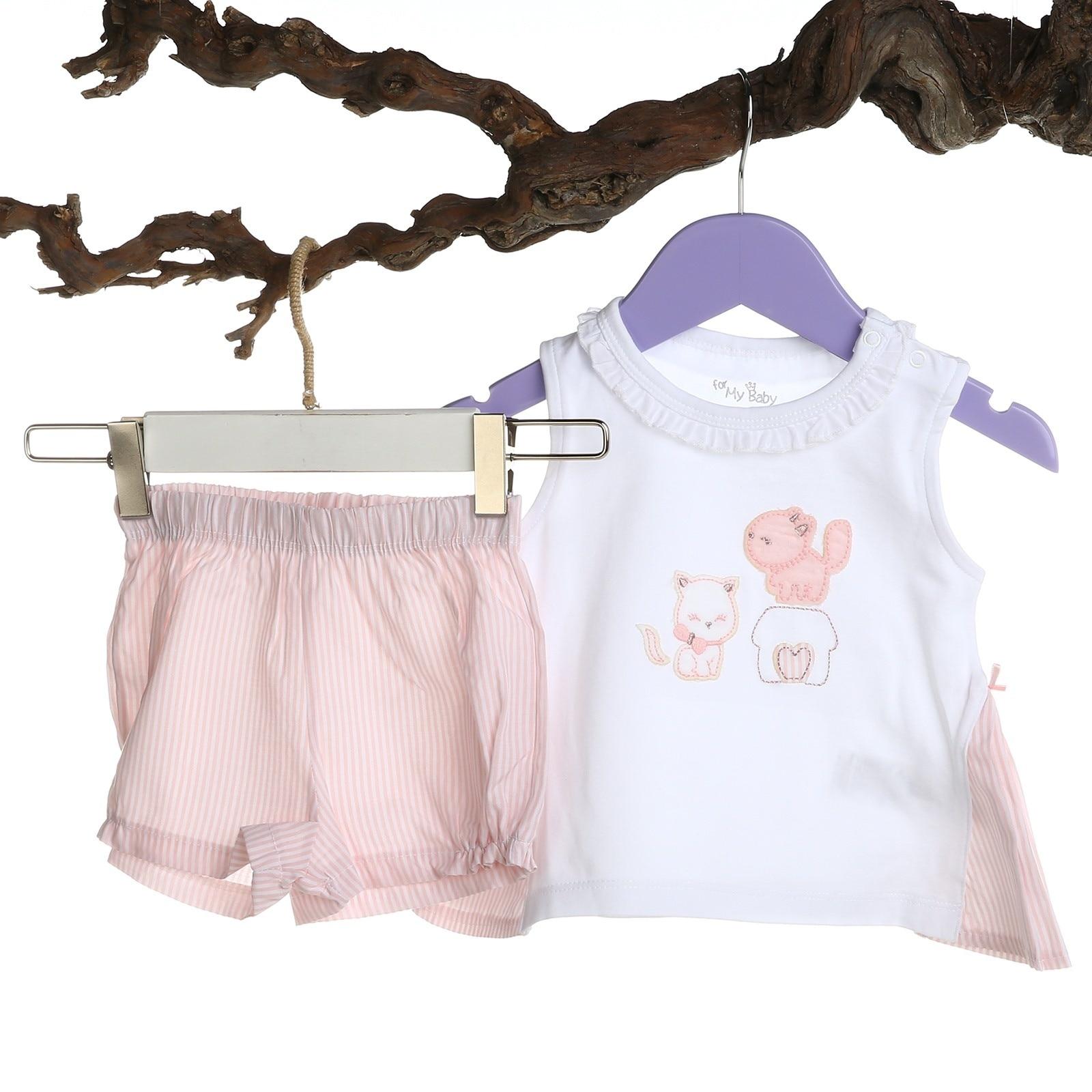 Ebebek For My Baby Girl Pink Ruffled Shirt Short Set
