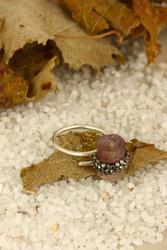 Dr Natuursteen Vrouwen Roze Quartz Ring Z121AR225