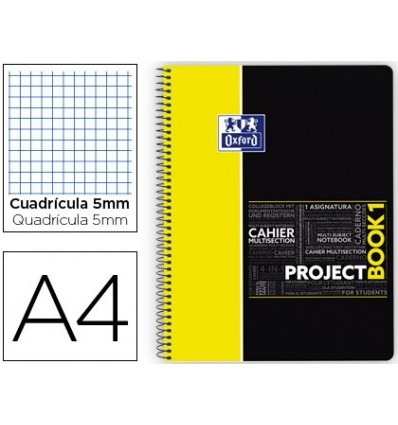 NOTEPAD SPIRAL OXFORD PLASTIC CAP MICROPERFORATED PROJECTBOOK1 DIN A4 80 SHEETS 90 PICTURES 5 MM YELLOW