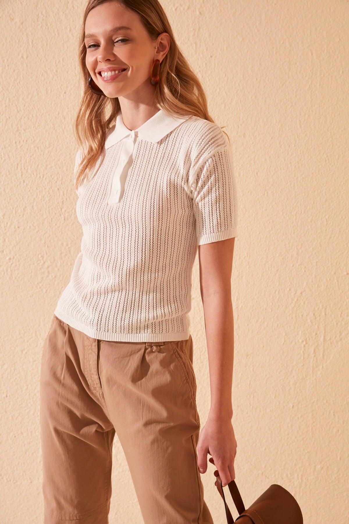 Trendyol Mesh Detailed Polo Collar Knitwear Sweater TWOSS20KZ0041
