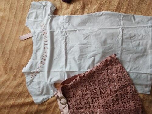 Women Fashion Off Shoulder Long T Shirt & Hollow Out Lace Skirt 2 Pieces Suit