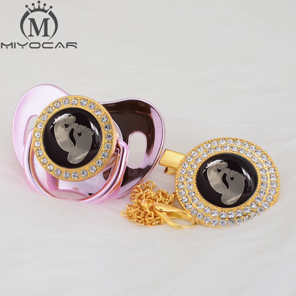 MIYOCAR 7 color black baby foot beautiful Gold bling pacifier and pacifier clip BPA free dummy bling unique design GFT Pacifier    - title=