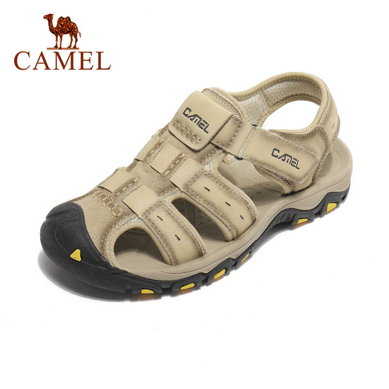 الجمل لينة تنفس مريحة حذاء للسير مسافات طويلة الرجال الصنادل الشاطئ جلد طبيعي في الهواء الطلق عدم الانزلاق النعال سريع الجافة الأحذية