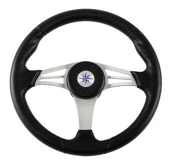 Steering wheel endurance rim black, silver spokes D. 350mm vn13511-01