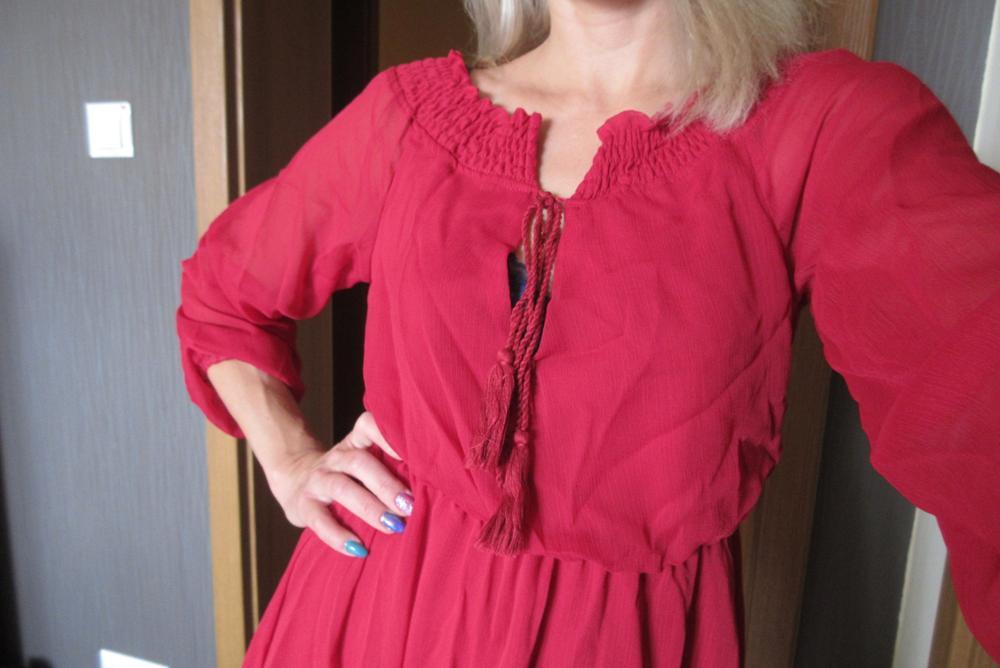 Chiffon Slash Neck Mini Dress Beach Summer Vacation Women Lantern Sleeve Ruffles Off Shoulder Bandage Tassels Dresses photo review