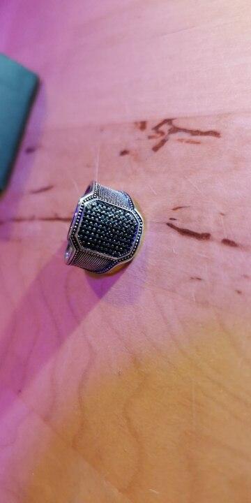 bague en argent type chevlière avec pierres noire (rétro Vintage)