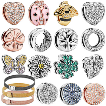 Genuine 925 Sterling Silver Beads Sparkling Clip Charms fit Original Pan Reflexion Bracelets Women DIY  Jewelry