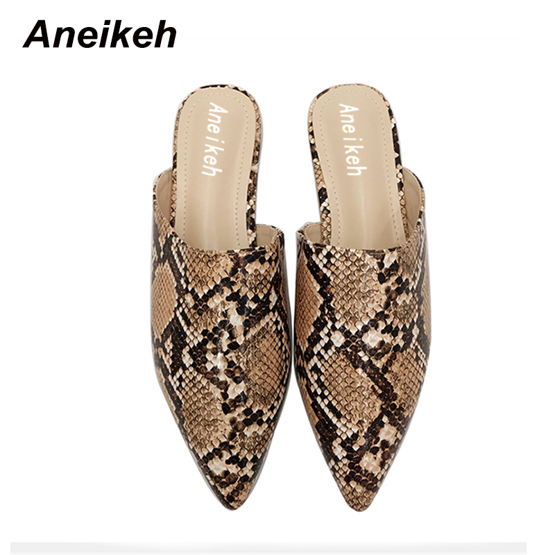 Aneikeh Summer Flats Mules Lady Sandals Slippers Leopard Print Slip On Pointed Toe Women Mules Outdoor Slipper Shoes Woman Slide