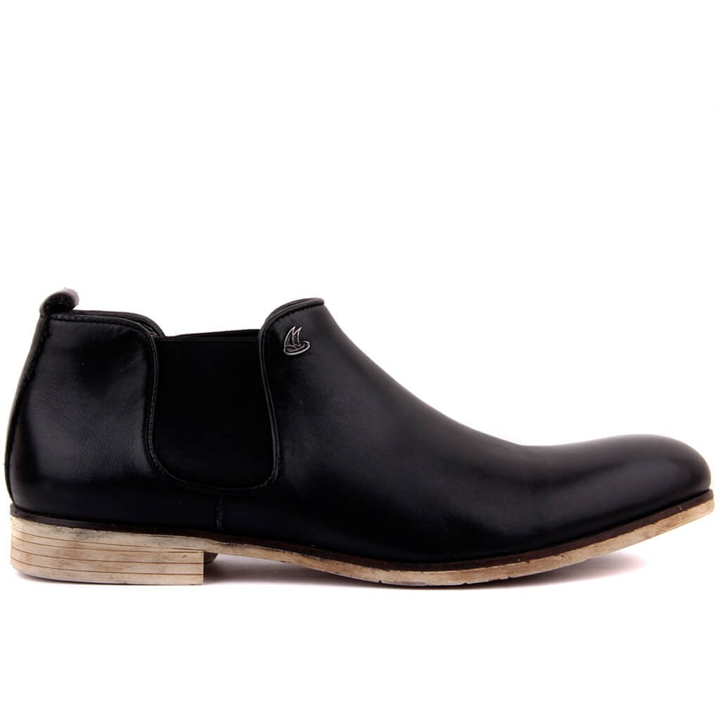 Sail-Lakers Black Leather Zipperless Men Boots