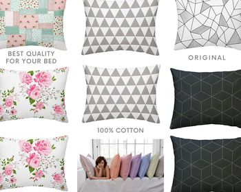 100% cotton 2 pieces printed pillowcase set 50x70 52x82 65x65 80x80 flower geometric triangle patchwork black red image