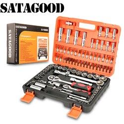 SATAGOOD kit de herramientas 94 artículo herramientas de mano conjunto de herramientas de reparación de automóviles herramienta de mano kit de herramientas de coche para coche de automóvil conjunto de herramientas