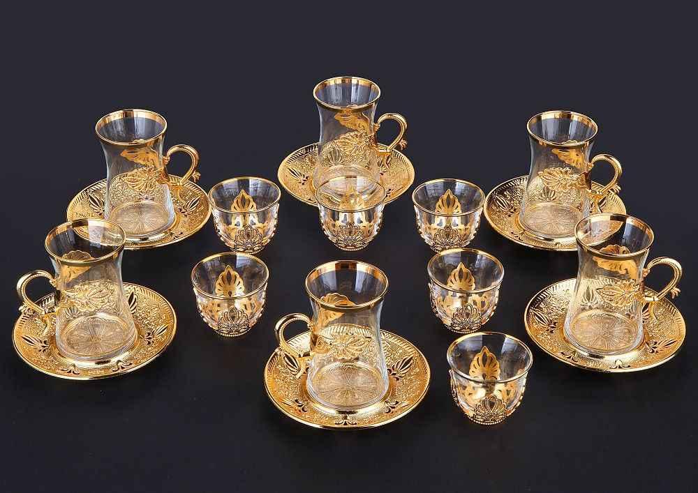 Handgemaakte Authentieke Goud Zilver Anatolian Arabische Turkse Thee Kopjes En Schoteltjes Set Voor Zes Mensen Gemaakt In Turkije