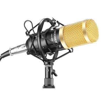 El conjunto de micrófono NW800 de Neewer incluye: NW-800 micrófono condensador profesional, soporte antigolpes, tapa de espuma y Cable de alimentación para micrófono