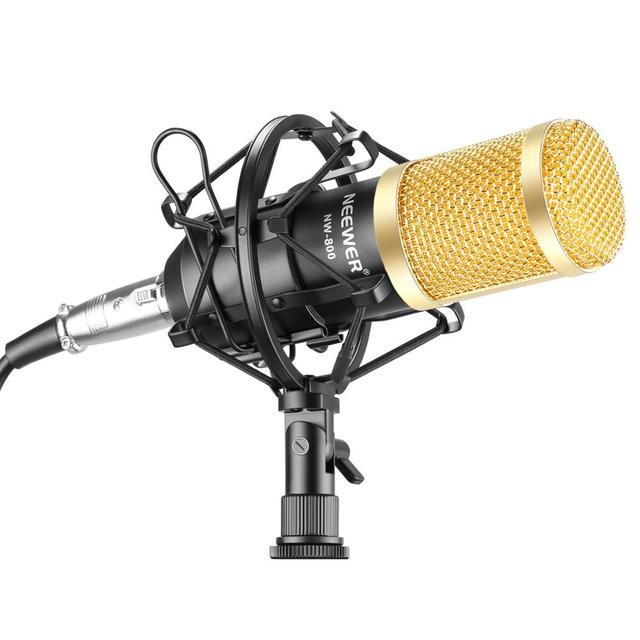 Neewer NW800 Microfoon Set Inclusief NW-800 Professionele Condensator Microfoon + Shock Mount + Schuim Cap + Microfoon Power Kabel