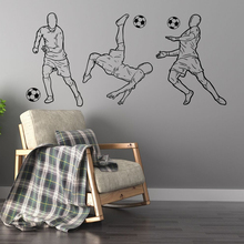 Soccer Player Playing Soccer Ball Decal Home Decor Wall Sticker Silhouette Wall Decal Design A0045 3d soccer player and goal wall art sticker decal