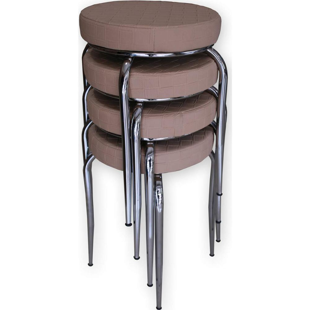 SETOF4 Kitchen Furniture Backless Stools Round Style Home Living Dinning Room Indoor Outdoor Tattoo Shop Salon Spa Massage Beige