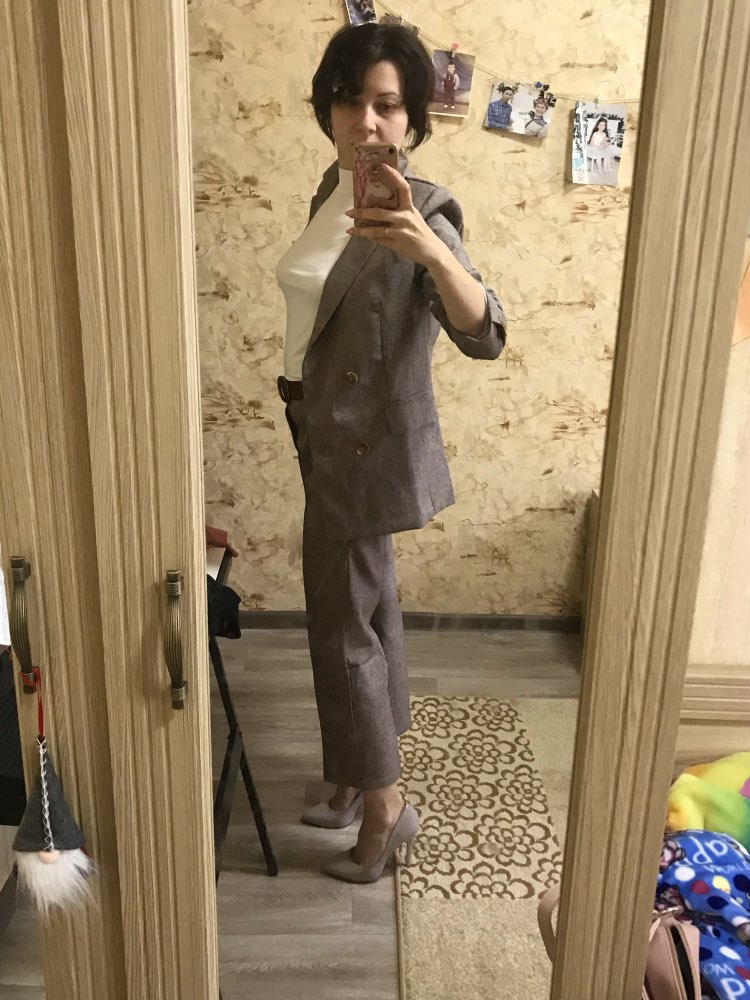 Women Suit 2 Piece Sets Casual Blazer High Waist Pant Office Lady Notched Jacket Pant Suits Femme set reviews №1 77071