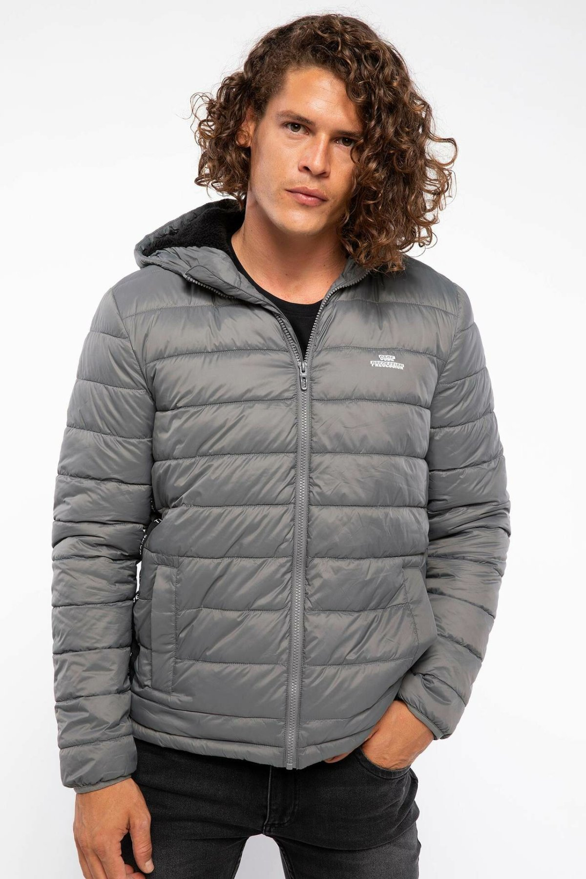 DeFacto Fashion Winter Man Down Warm Hooded Short Coats Solid Color High Quality Thicken Jackets Winter Mens - J5403AZ18WN