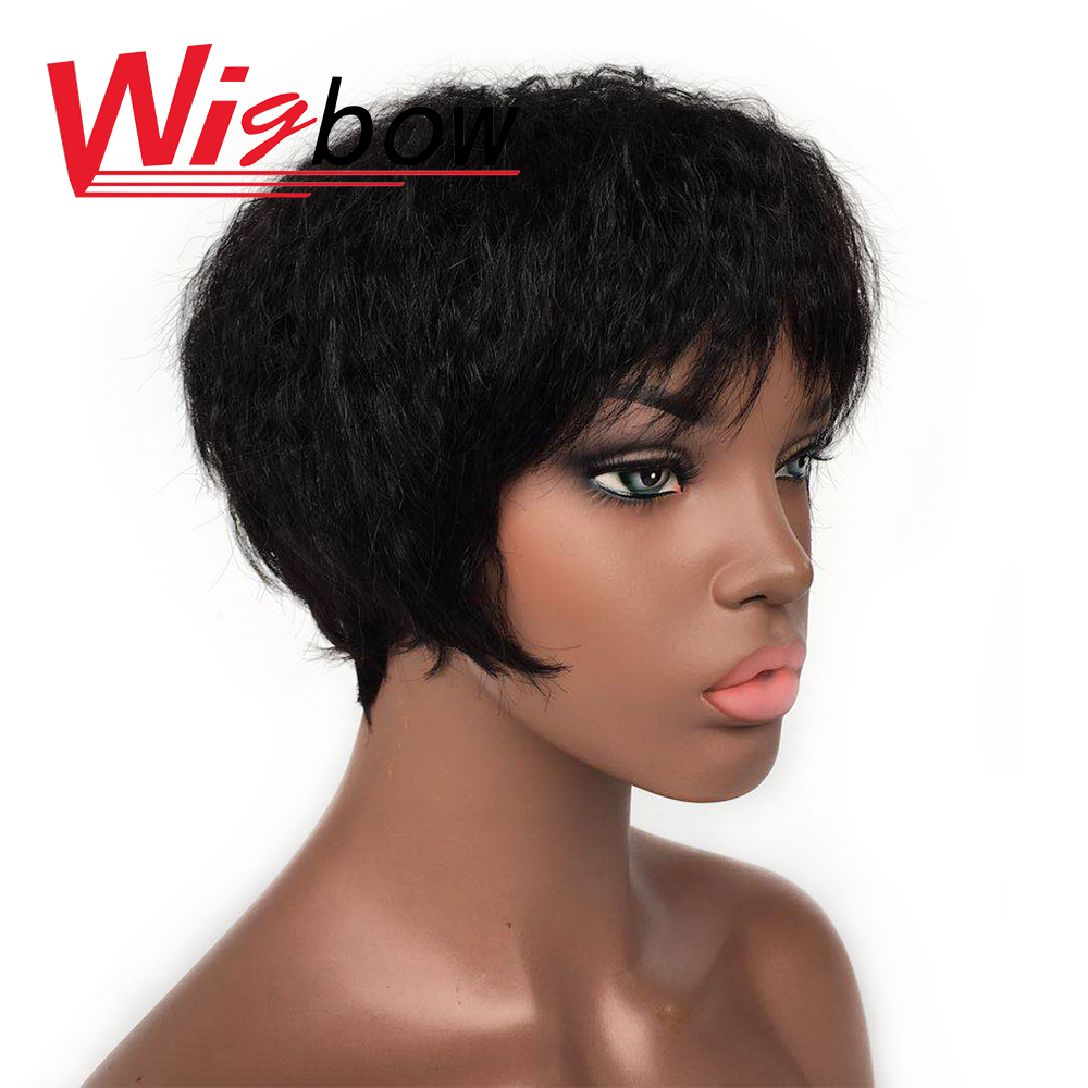 Human Hair Kinky Straight Bob Wig Short Non-Remy Wet And Wavy Wig For Women Natural Color Brazilian Curly Wig Black Bang Wigs