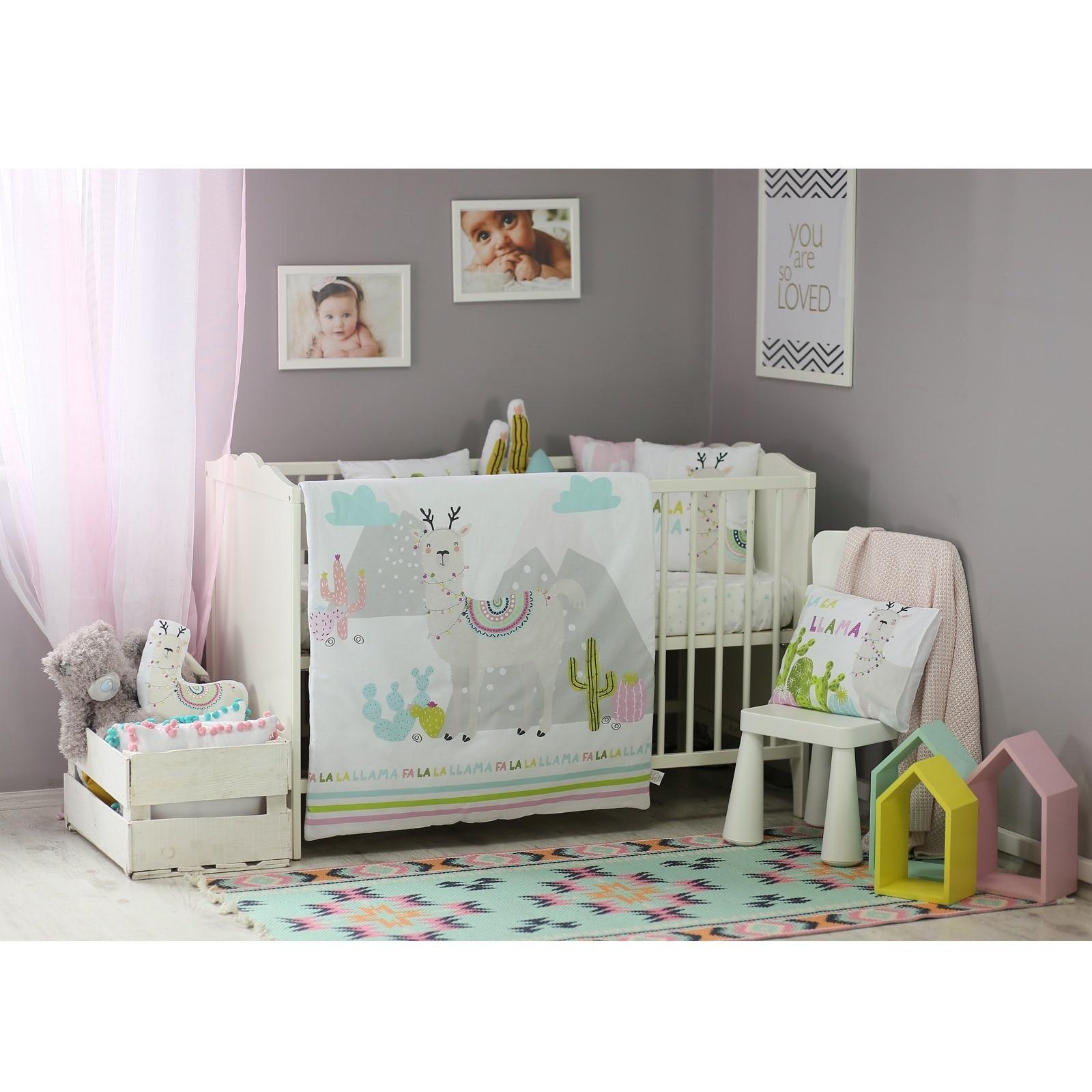 Ebebek Apolena Baby Llama Bed Filled Duvet 3 Pcs Set
